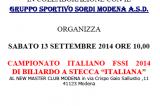 13 Settembre, Modena (MO). Campionato Italiano FSSI di Biliardo